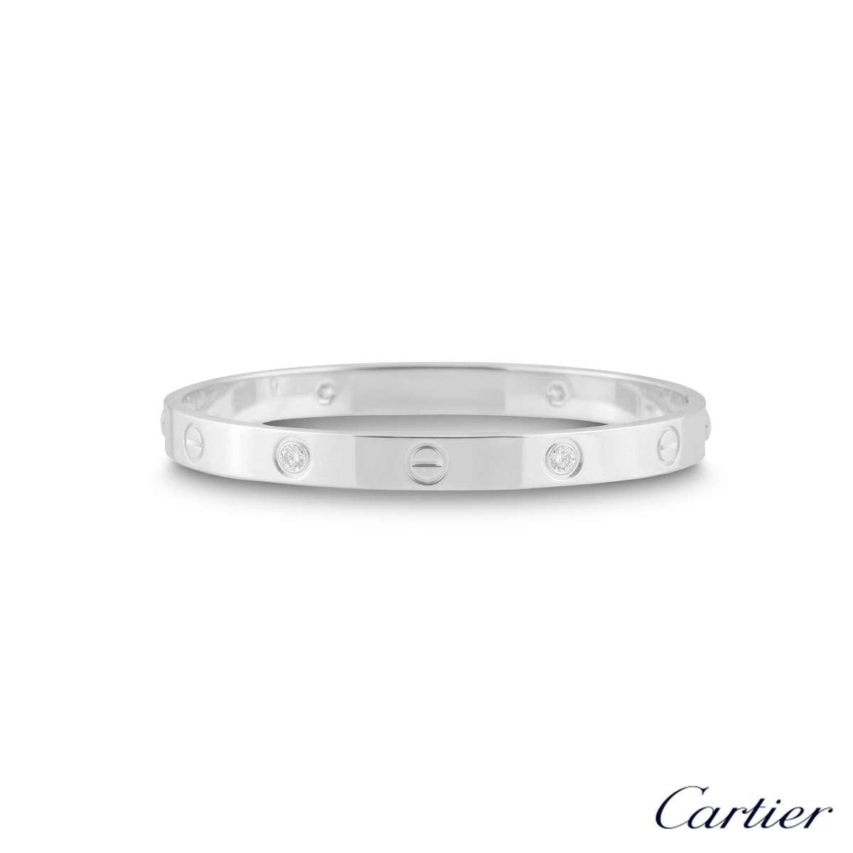 Cartier White Gold Half Diamond Love BraceletSize 18B6035818